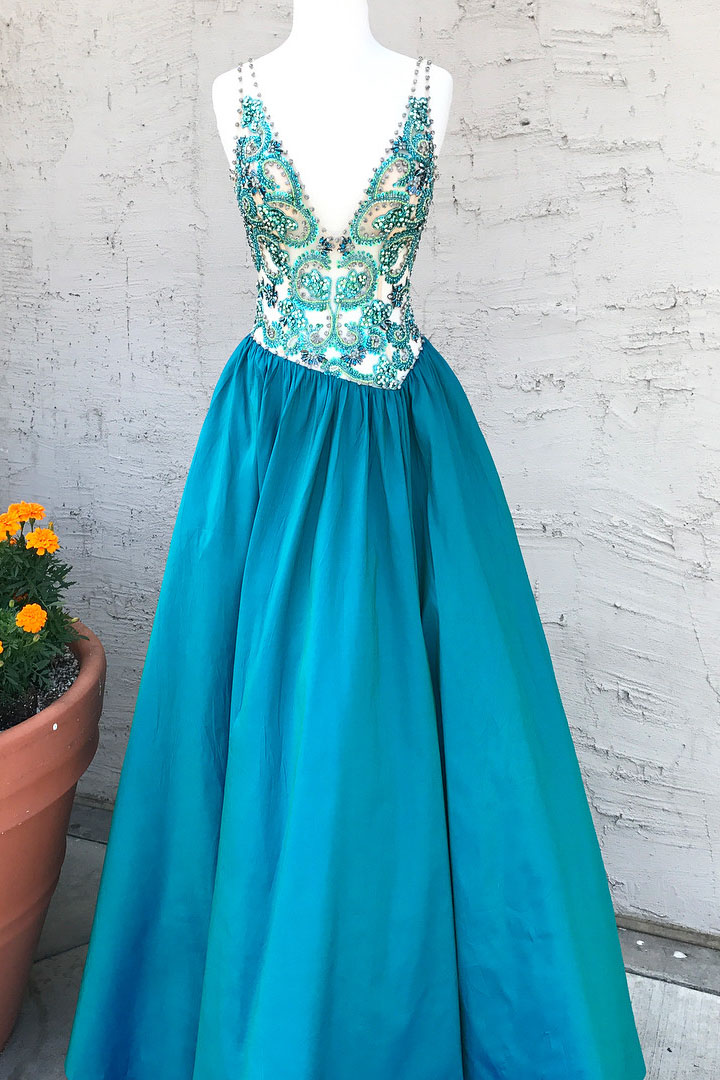 Beads A-line V Neck Teal Long Prom Dress Formal Dress evening dresses, pageant dresses