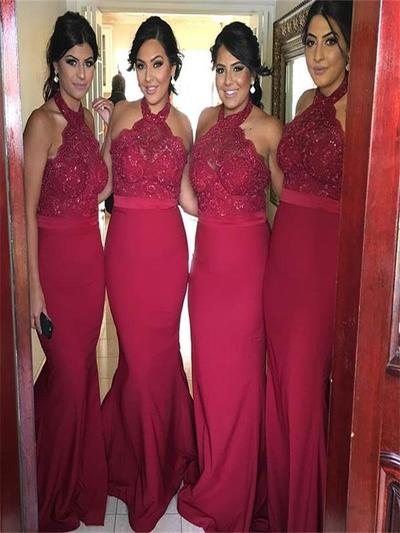 Red bridesmaid dress, Halter bridesmaid dress, Sexy bridesmaid dress, Mermaid bridesmaid dress,Cheap Dress,PD890