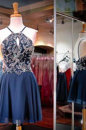 Charming Homecoming Dresses,navy blue prom Dresses,beaded O neck prom Dresses, Juniors Homecoming Dresses