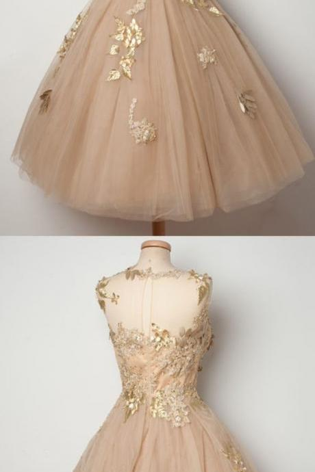 Gold homecoming dress,tulle prom dress,applique prom dress,sliver homecoming gowns,short prom gowns