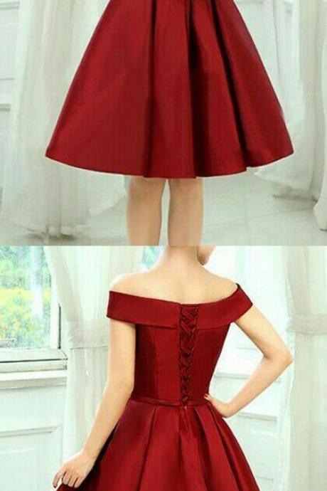 Red homecoming dress,off shoulder prom dress,satin prom dress, strapless homecoming gowns,short prom gowns