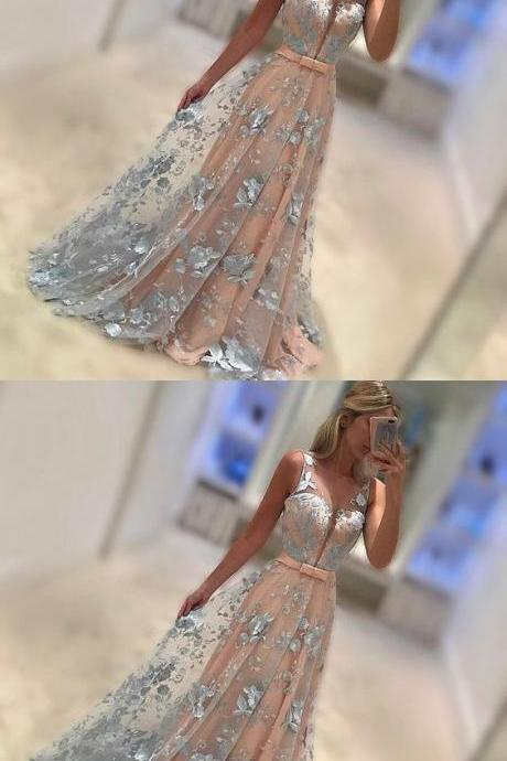 Blush pink prom dress,silver A-line prom dress,tulle prom dress, belt long prom gowns