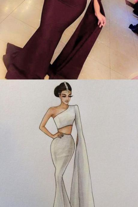 Burgundy prom dress,Two pieces prom dress,mermaid prom dress,one shoulder long prom gowns