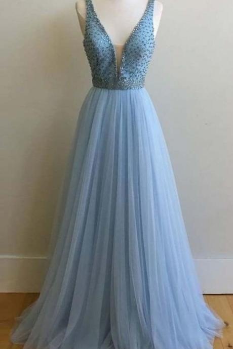 Blue prom dress,Deep V-neck prom dress,tulle prom dress,beaded long prom gowns