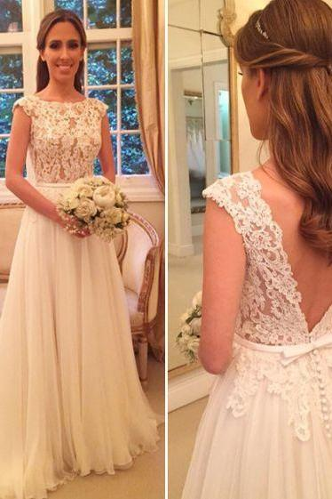 White prom dress, A-line high neck long prom dress,backless prom gown,tulle lace prom gowns