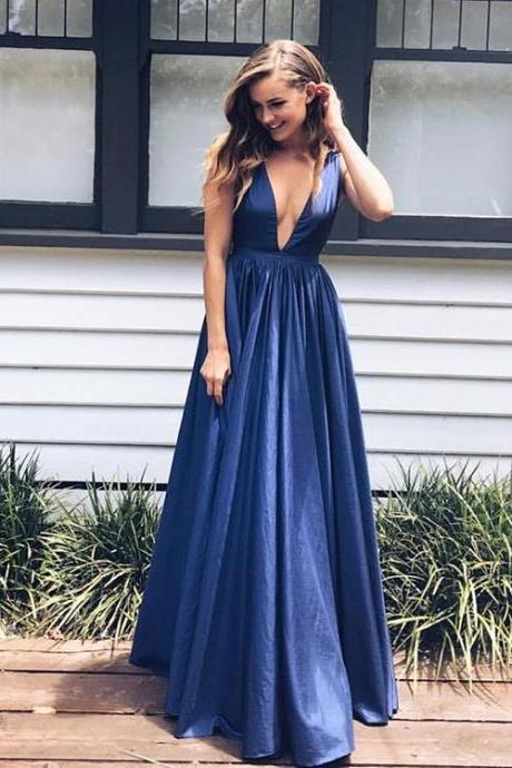 Navy blue prom dress, A-line V-neck long prom dress,backless prom gown,satin evening gowns