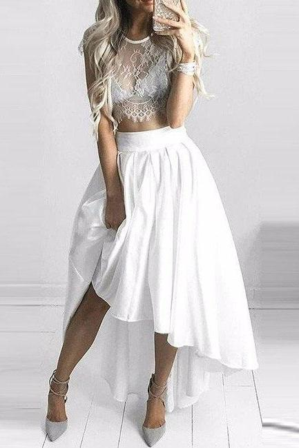 White prom dress,two pieces short prom dress,A-line prom gown, lace chiffon homecoming gowns