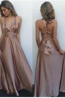 Dust prom dress,A-line long prom dress,strap backless prom gown, satin evening gowns