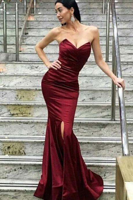 Burgundy prom dress,mermaid sweetheart long prom dress,side slit backless prom gown, satin evening gowns