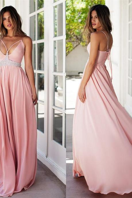 Pink prom dress,A-line sweetheart long prom dress,strap backless prom gown, chiffon beaded evening gowns