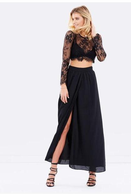 Black prom dress,two pieces long prom dress,side slit long sleeves prom gown, lace evening gowns