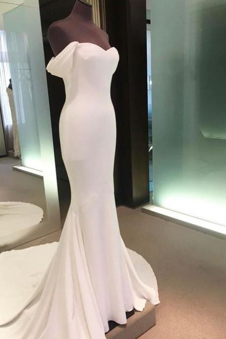 White prom dress,mermaid long prom dress,off shoulder backless prom gown, spandex evening gowns
