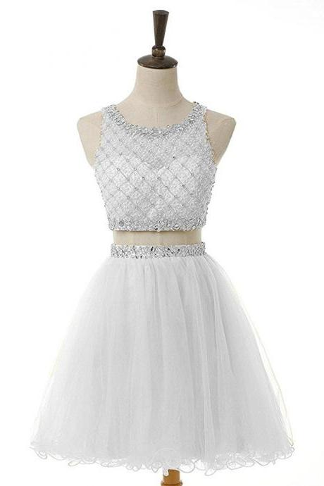 White prom dress,two pieces short prom dress,high neck prom gown,tulle beaded homecoming dress