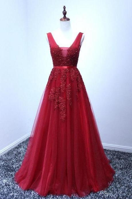 Red prom dress,A-line long prom dress,V-neck prom gown,tulle applique beaded evening dress