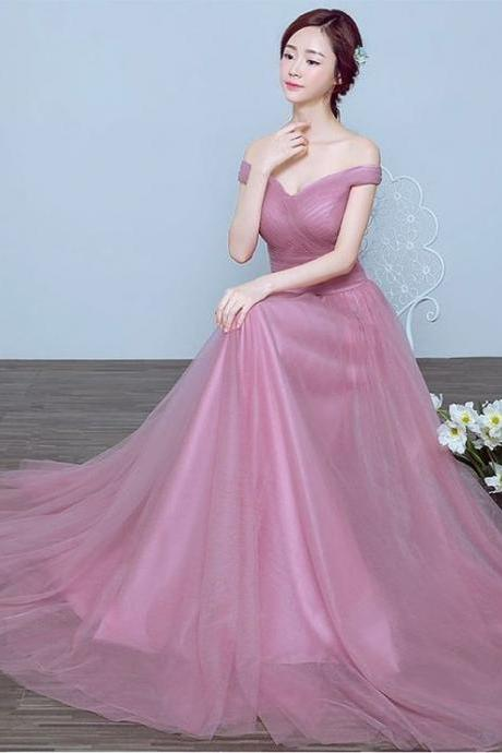Pink prom dress,A-line long prom dress,off shoulder backless prom gown,tulle evening dress
