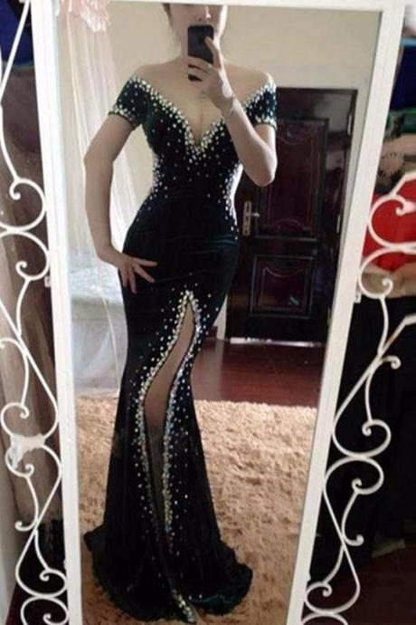 Black prom dress,mermaid side slit long prom dress, off shoulder prom gown,beaded evening dress