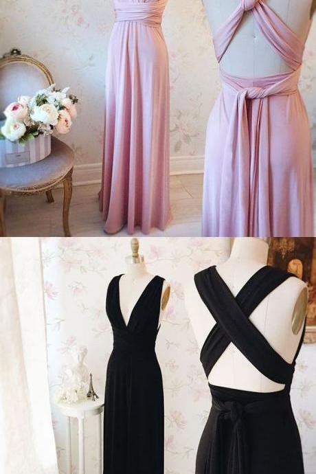 Pink prom dress,A-line long prom dress, strap backless prom gown,chiffon evening dress