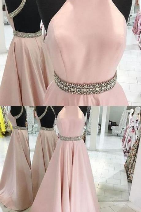 Blush pink prom dress,A-line high neck long prom dress,backless prom gown,satin beaded evening dress