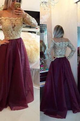 Burgundy prom dress,A-line long sleeves long prom dress,off shoulder prom gown,applique beaded evening dress