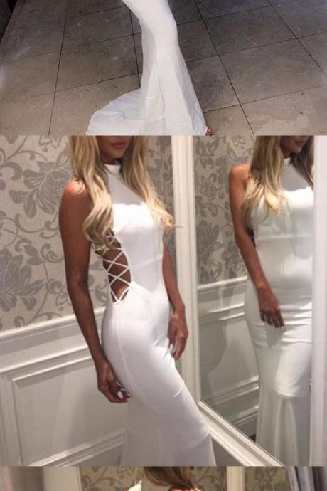 White prom dress,mermaid high neck long prom dress,strap crossing prom gown,spandex evening dress