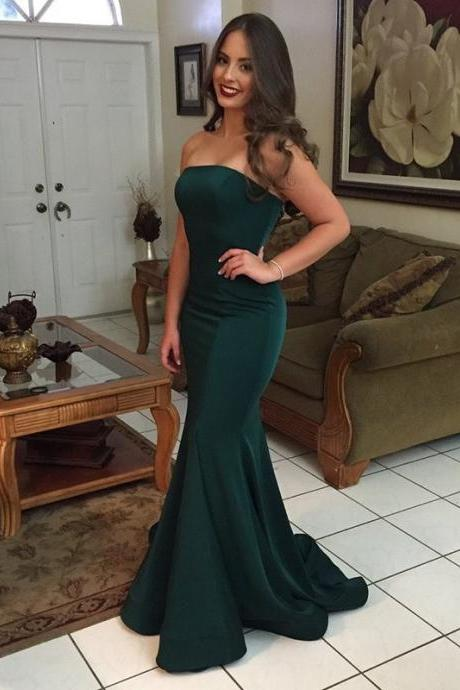 Dark Green Satin Prom Dresses Long Mermaid Sleeveless Evening Dresses Strapless Formal Gowns Sexy Backless Party Pageant Dresses for Women