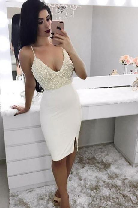 White Homecoming Dress,Sexy Homecoming Dress,Teens Homecoming Dress,Spaghetti Straps Homecoming Dress, Short Party Dresses,Juniors Prom Gown,Cheap Short Prom Dress