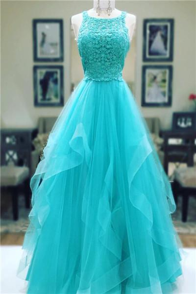 Turquoise Tulle Prom Dresses A-line Long Sleeveless Evening Dresses Appliques Formal Gowns Sexy Party Graduation Pageant Dresses