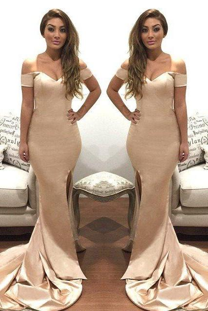 Satin High Slit Prom Dresses Long Mermaid Sexy Party Dresses Off the Shoulder Formal Gowns Short Sleeves Women Evening Dresses 2018