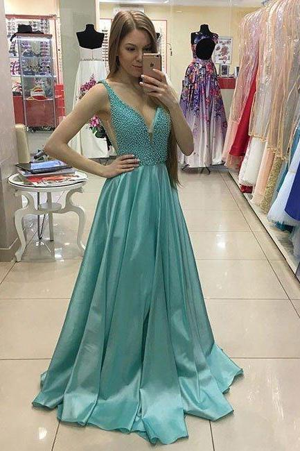 Blue Satin Prom Dresses Long Sexy V-neck A-line Party Dress Beading Evening Gowns 2018 Formal Dresses