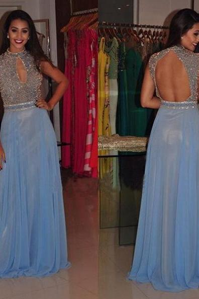 Blue Chiffon Prom Dresses A-line Beaded Crystals Long Graduation Party Dresses Open Back Sexy Formal Gowns Evening Dresses for Teens Girls