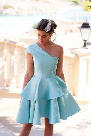 Homecoming Dress,Short Homecoming Dress,Light Blue A-line One Shoulder Satin Lace Prom Dress