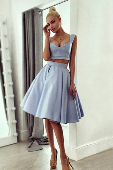 Homecoming Dress,Short Prom Dress,A-line Satin Low-Cut Two Pieces Homecoming Dress Sexy Homecoming Dress
