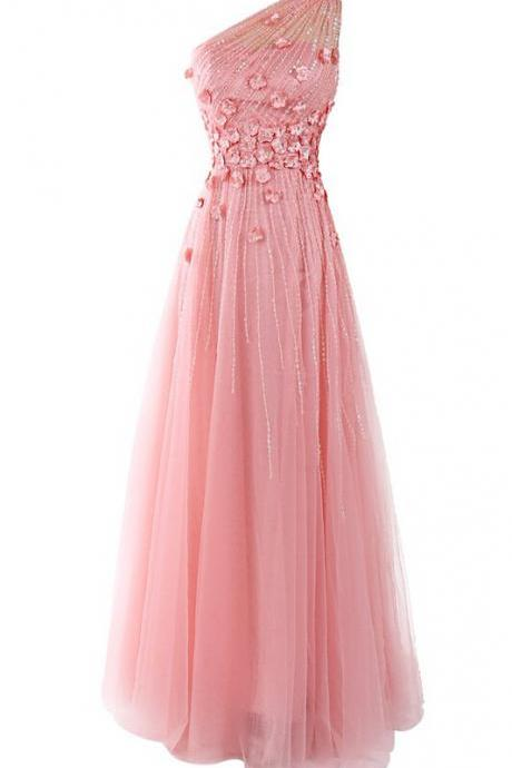 One Shoulder Applique Beaded Chiffon A-line Prom Dress,Floor length Prom Dress,Prom Dress,Elegant Party Dress