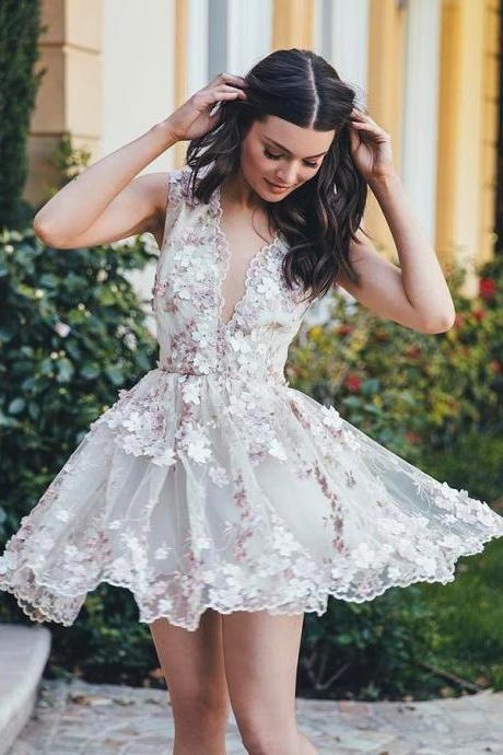 A-line Appliques Chiffon V-neck Homecoming Dress,Homecoming Dress,Short Prom Dress,Beautiful Party Dress
