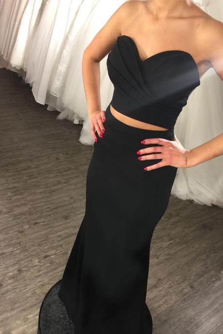 Long Mermaid Prom Dresses Black Satin Two Pieces Sweetheart Evening Dresses Sexy Formal Gowns Party Dresses for Women