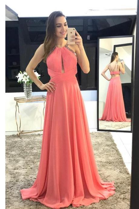 A-line Coral Chiffon Prom Dresses Long Backless Beaded Party Dresses Elegant Evening Dresses Formal Gowns Sleeveless