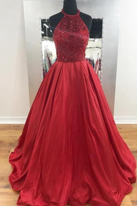 A-line Red Taffeta Prom Dresses Long Backless Beaded Party Dresses Halter Evening Dresses Formal Gowns