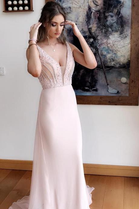 2018 Beading Deep V neck Chiffon Prom Dresses Long Formal Gowns Sexy Evening Dress Formal Gowns for Teens Girls