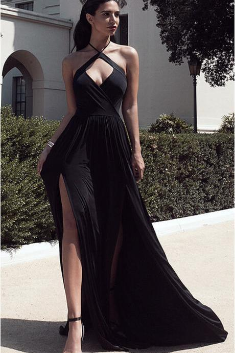 Sexy A-Line Halter Neck Split Front Black/White Chiffon Long Prom/Evening Dress with Keyhole