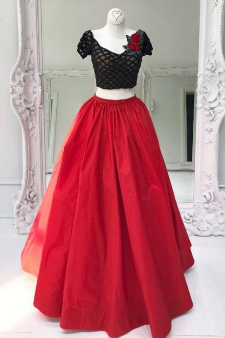 Two Piece V-Neck Floor-Length Short Sleeves Red Organza Prom Dress with Flowers