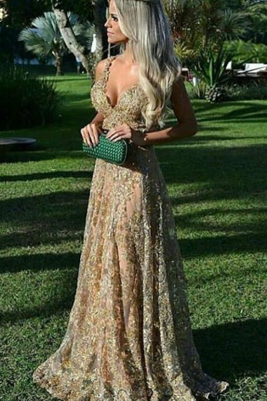 A-Line Deep V-Neck Criss-Cross Straps Dark Green Tulle Prom Dress with Beading