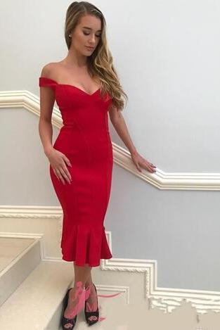 2018 Charming Cocktail Dresses Mermaid Off the shoulder Zipper Tea Length Satin Ruched Red Runway Fashion Evening Gowns Custom Made