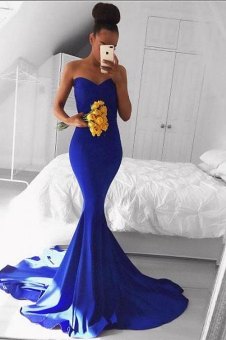 2018 Sexy Royal Blue Prom Dress Evening Dress, Mermaid Evening Dresses Formal Dress, Sweetheart Evening Dresses Prom Gown, Satin Long Party Dress