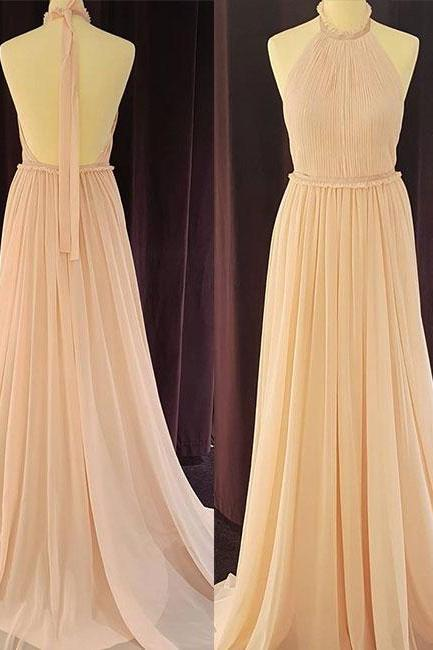 Halter Pleated Chiffon Floor-length Prom Dress, Evening Dress