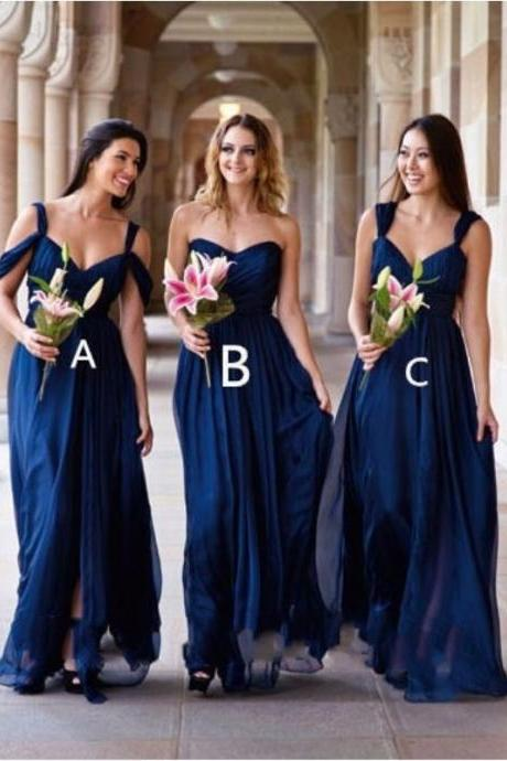 Classic A-Line Sweetheart/Off-Shoulder Royal Blue Long Bridesmaid Dress