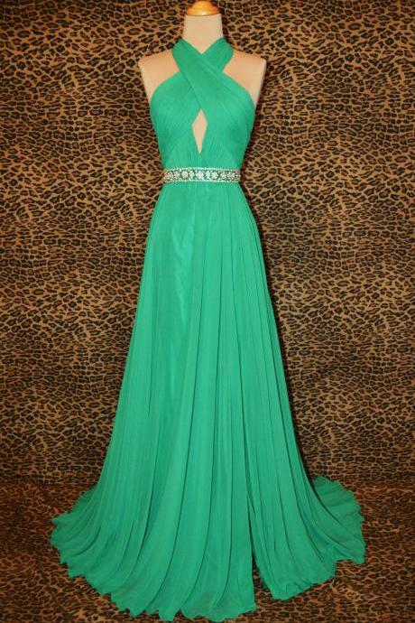 Long Bridesmaid Dresses Hang A Neck Party Dress Evening Dress Beads Chiffon Dress Prom Dress