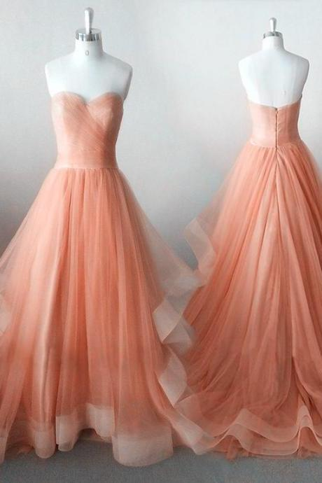 Orange Tulle Gowns, Gorgeous Prom Dresses 2018, Sweetheart Floor Length Sweet 16 Party Dresses