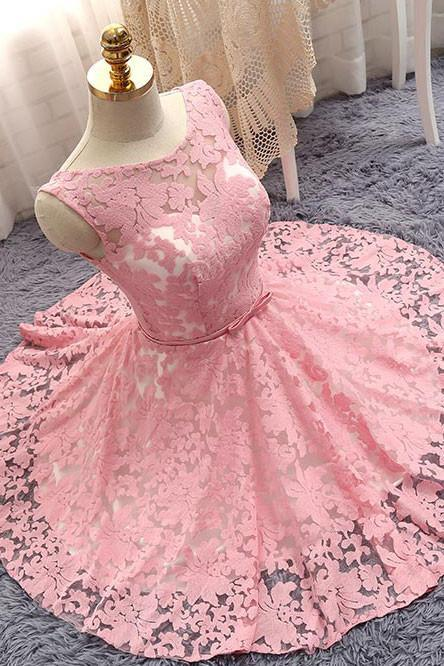 Lace Homecoming Dress, Bateau Prom Dresses,Lace-up Prom Gown,Short Prom Dress,Pink Party Dress,A Line Prom Dresses