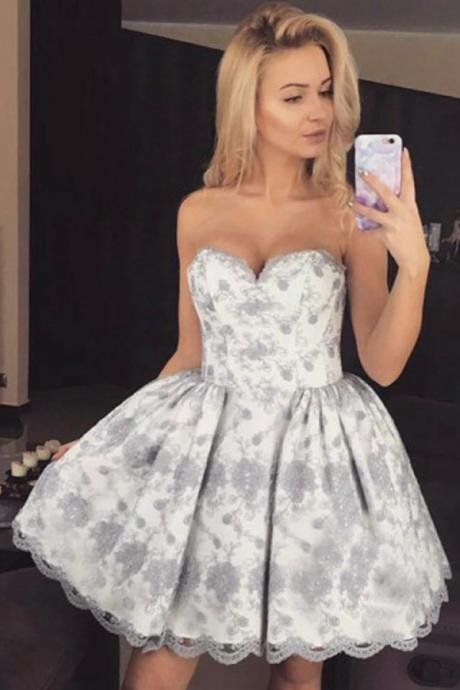 Fashion Homecoming Dress,Ball Gown Homecoming Dresses,Sweetheart Homecoming Dresses,Short Homecoming Dress,Lace Homecoming Dress