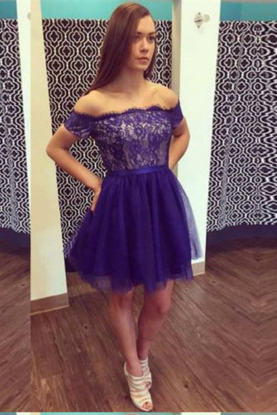 Off the Shoulder Homecoming Dresses,Short Prom Dresses,Lace Homecoming Dress,Tulle Homecoming Dresses,A Line Homecoming Dress